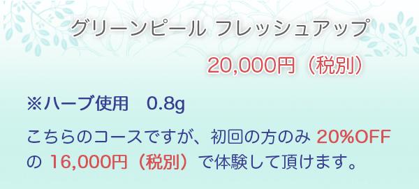 フレッシュアップ・・・20,000円※ハーブ使用 0.8g こちらのコースですが、初回の方のみ 20%OFF の ¥16,000 で体験して頂けます。