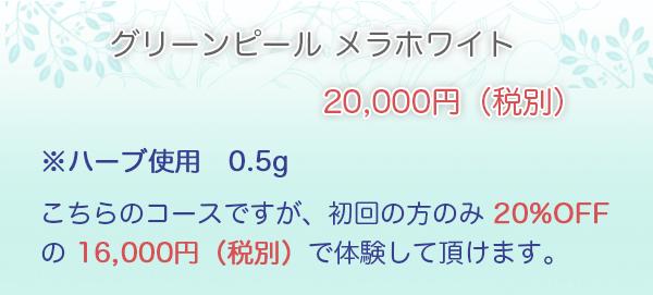 メラホワイト・・・20,000円※ハーブ使用 0.8g こちらのコースですが、初回の方のみ 20%OFF の ¥16,000 で体験して頂けます。